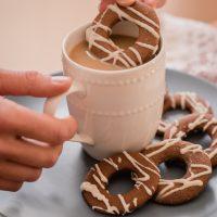White Chocolate Drizzle Biscotti Dipped